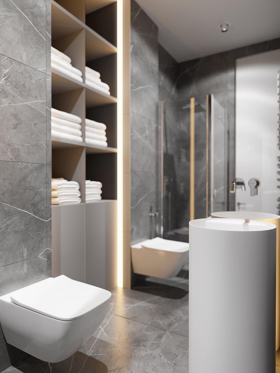 Фотография: Ванная в стиле Современный, Проект недели, ЖК Фили Град, новостройка, Quadro room – фото на InMyRoom.ru