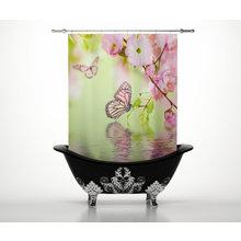 Штора для ванной: Весенняя бабочка