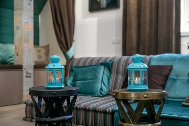 Фотография: Гостиная в стиле Современный, Интерьер комнат, Дача, Дачный ответ, Мансарда – фото на InMyRoom.ru