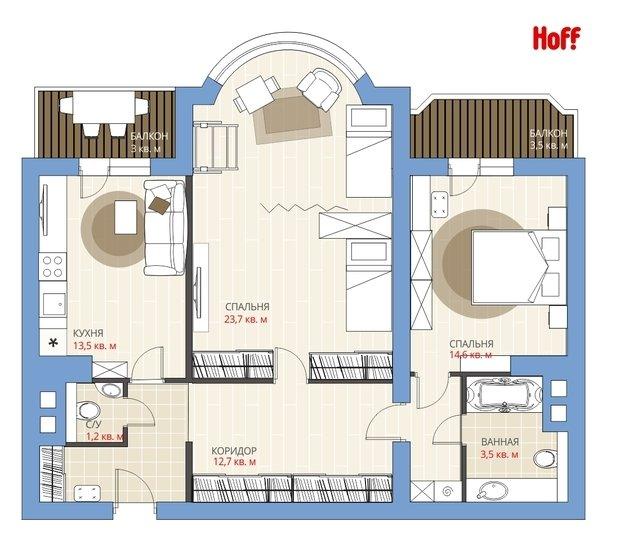 Фотография:  в стиле , Квартира, Планировки, HOFF, Перепланировка, HOFF, И-155МК, Анастасия Киселева, И-155Б, Панельный дом, И-155, 2 комнаты, 60-90 метров, И-155Н – фото на InMyRoom.ru
