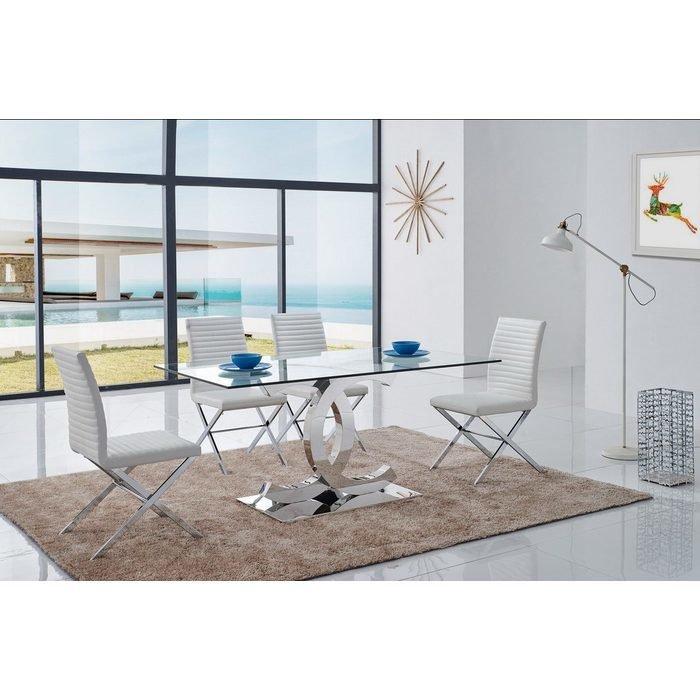 Обеденный Стол с фигурным каркасом и стеклянной столешницей
