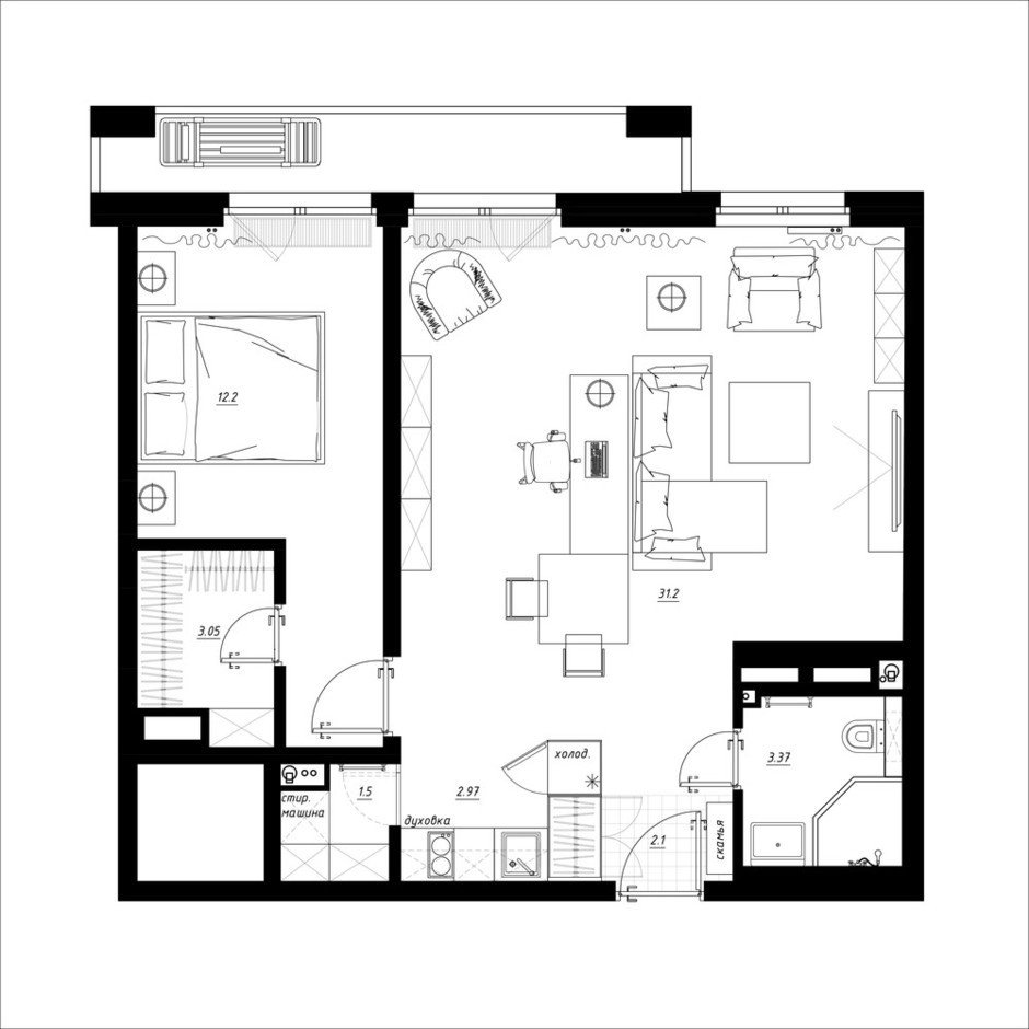 Фотография: Планировки в стиле , Квартира, Перепланировка, Санкт-Петербург, Никита Зуб, Монолитный дом, 2 комнаты, 40-60 метров, планировочная среда – фото на InMyRoom.ru