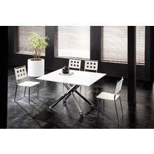 Раскладной журнально-обеденный стол с регулируемой высотой и белой глянцевой столешницей