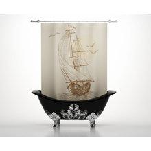 Штора для ванной: Парусник на волнах