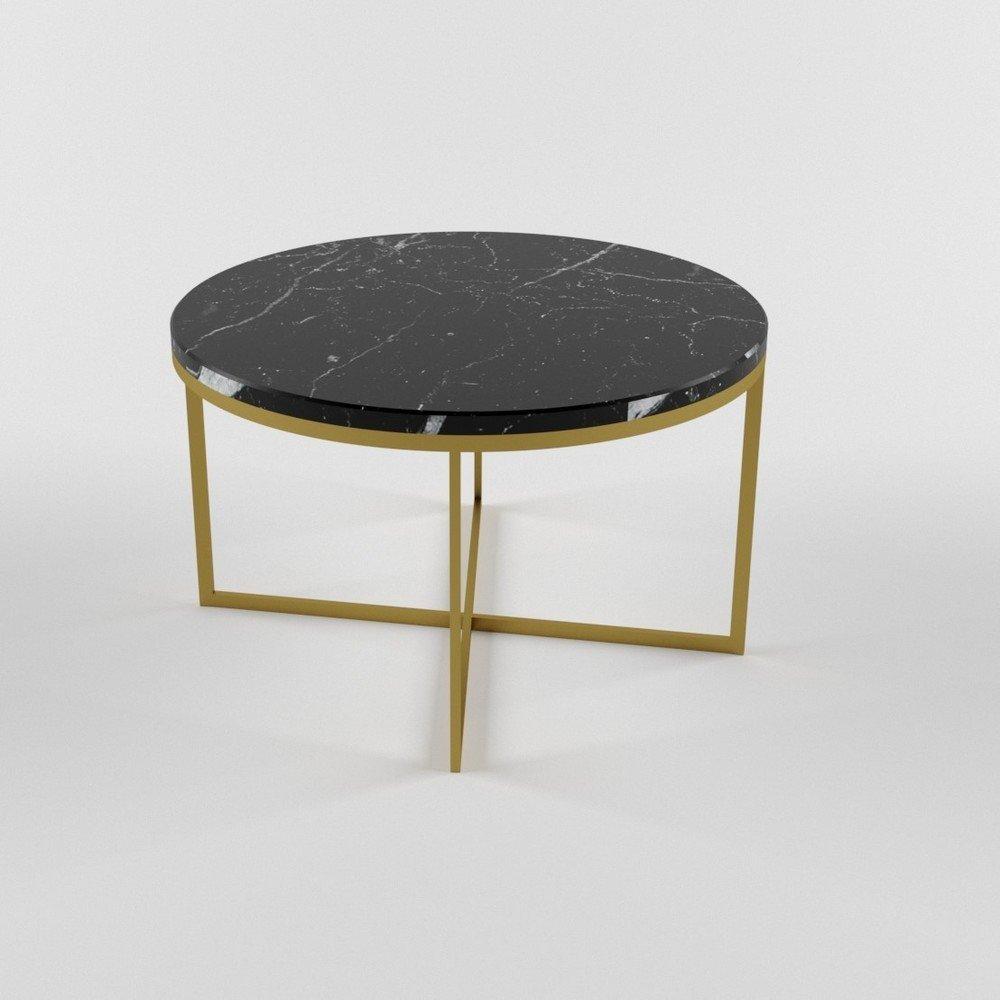 Купить со скидкой Журнальный стол Lilia Large Gold с мраморной столешницей