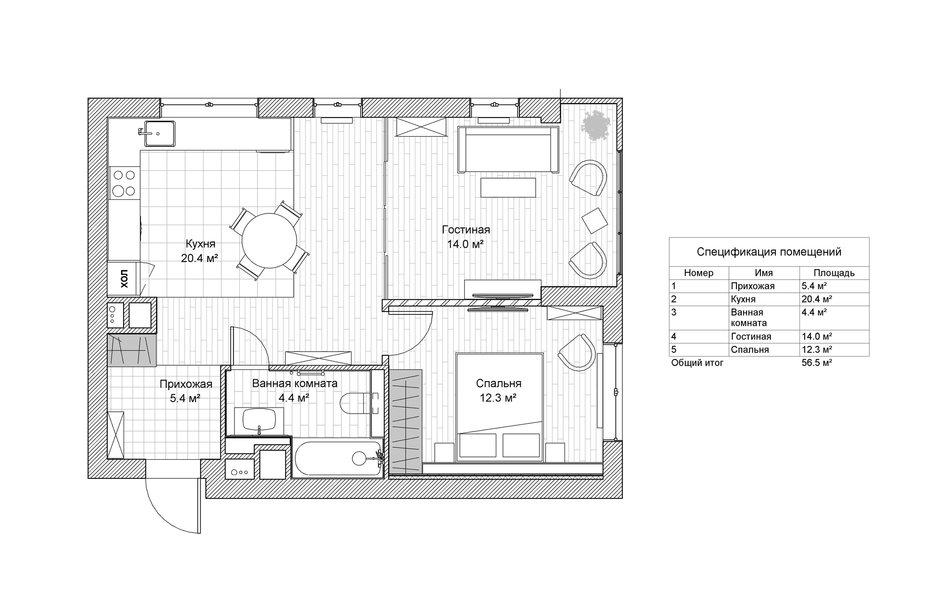 Фотография: Планировки в стиле , Квартира, Проект недели, Москва, Монолитный дом, 2 комнаты, 40-60 метров, CENS architects, ЖК «Технопарк» – фото на InMyRoom.ru