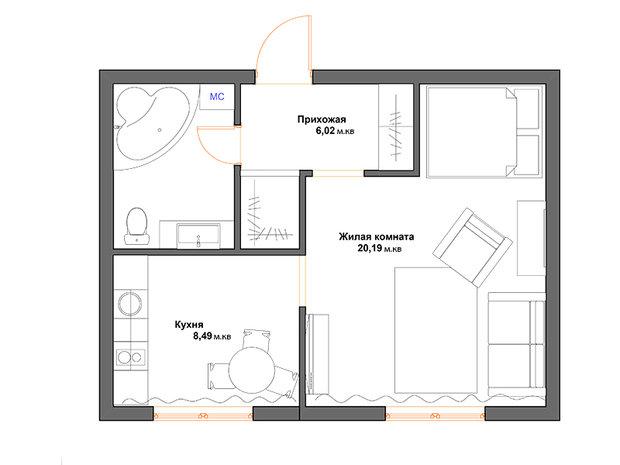Фотография:  в стиле , Перепланировка, Дарья Дубкова, П-30, обустройство однокомнатной квартиры в П-30, дизайн типовой однушки – фото на InMyRoom.ru