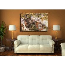 """Дизайнерская картина на холсте """"Семья отдыхающих тигров"""""""