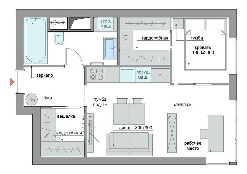 Фотография: Планировки в стиле , Квартира, Перепланировка, ЖК АРТ, перепланировка двухкомнатной квартиры, двушка, планировка двушки, ЖК ART – фото на InMyRoom.ru