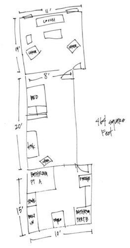 Фотография: Гостиная в стиле Прованс и Кантри, Малогабаритная квартира, Квартира, Цвет в интерьере, Дома и квартиры, Стены, Нью-Йорк, Системы хранения, Квартиры – фото на InMyRoom.ru