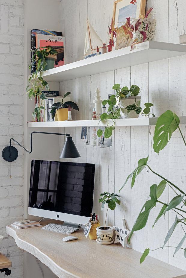 Фотография: Кабинет в стиле Скандинавский, Квартира, Белый, Проект недели, Евгения Лыкасова – фото на INMYROOM