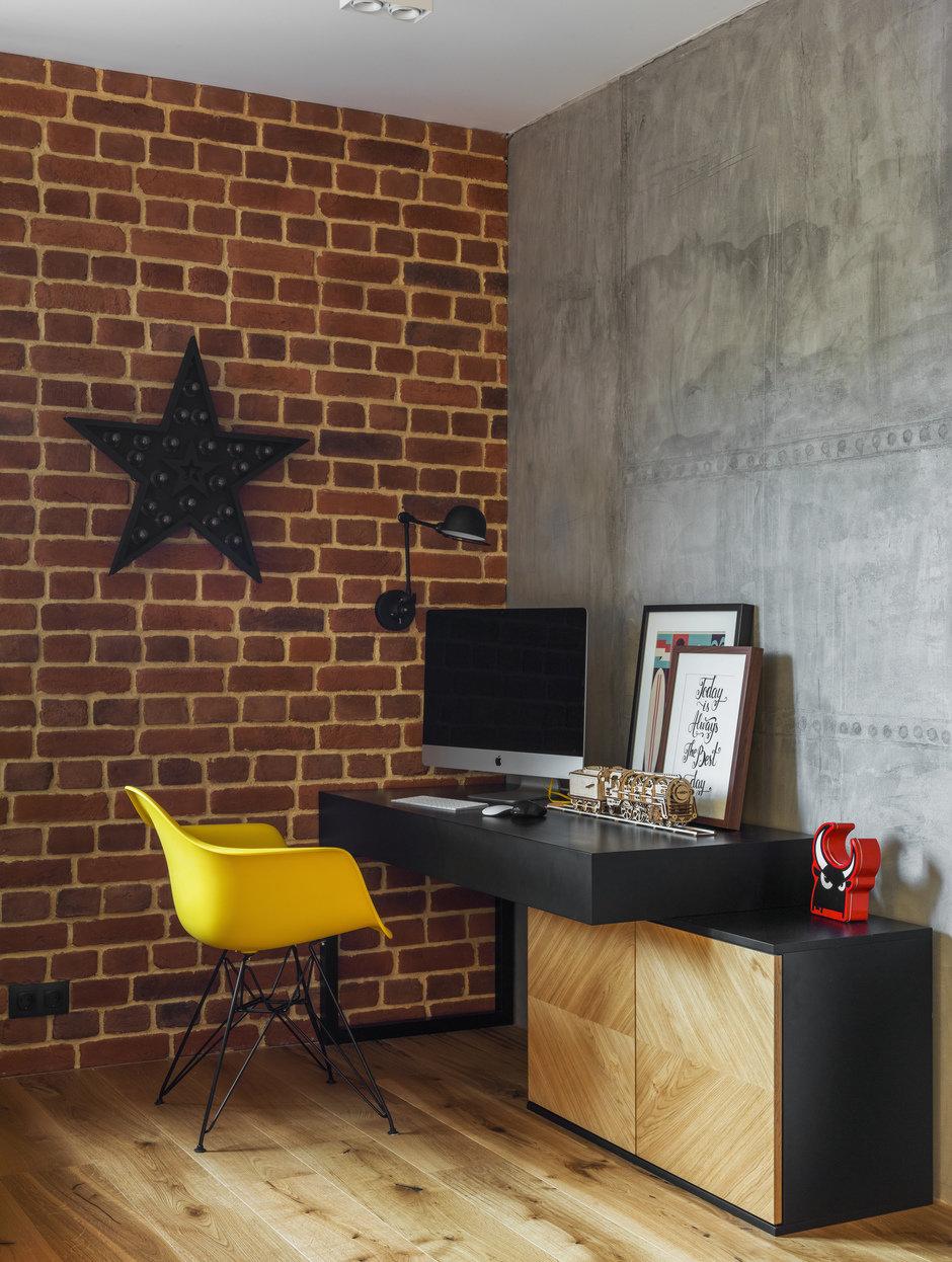 Фотография: Кабинет в стиле Лофт, Современный, Квартира, Проект недели, Geometrium, Монолитный дом, 2 комнаты, 60-90 метров, ЖК «Сколковский» – фото на InMyRoom.ru