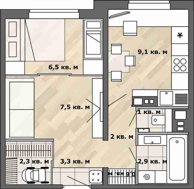 Фотография:  в стиле , Малогабаритная квартира, Перепланировка, перепланировка однушки, Анастасия Киселева, планировка одномнатной квартиры в доме серии П-3М, П-3М – фото на InMyRoom.ru