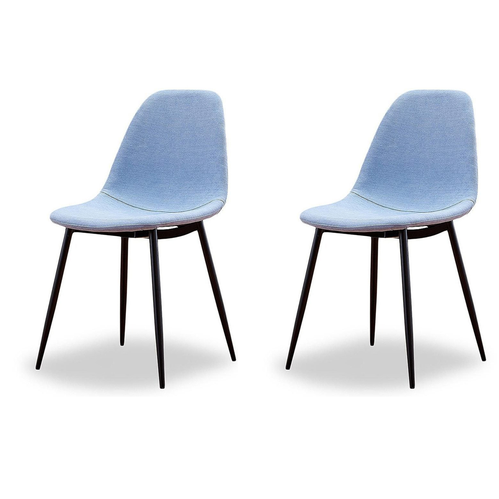 Купить Набор из двух стульев в голубой тканевой обивке, inmyroom, Китай