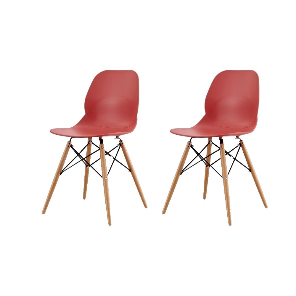 Купить Набор из двух стульев красного цвета на деревянных ножках, inmyroom, Китай
