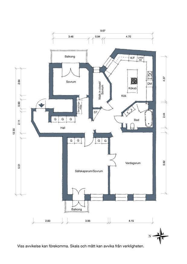 Фотография: Планировки в стиле , Декор интерьера, Квартира, Швеция, 3 комнаты – фото на InMyRoom.ru