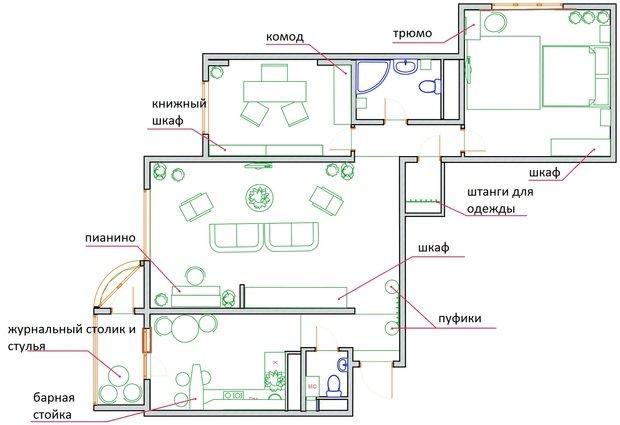 Фотография: Планировки в стиле , Квартира, Перепланировка, Валентина Донская, П-44Т – фото на InMyRoom.ru