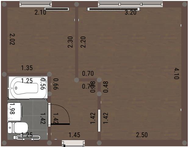 Расстановка мебели на кухне и жилой комнате