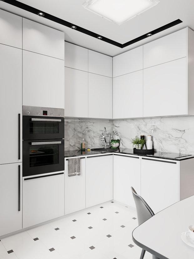 Фотография: Кухня и столовая в стиле Современный, Квартира, Проект недели, Даша Ухлинова, Зеленоград, ГМС-1, 2 комнаты, 40-60 метров – фото на INMYROOM