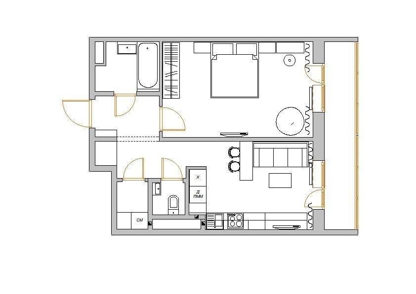Фотография: Планировки в стиле , Малогабаритная квартира, Квартира, Цвет в интерьере, Дома и квартиры, Белый, Переделка – фото на InMyRoom.ru