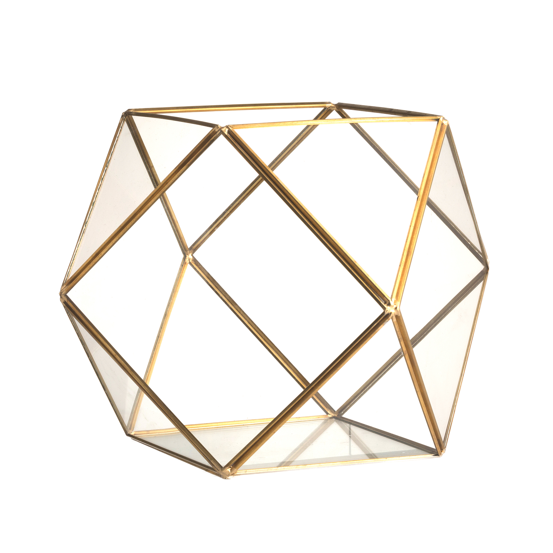 Флорариум стеклянный с золотом в винтажном стиле Crystal Shape