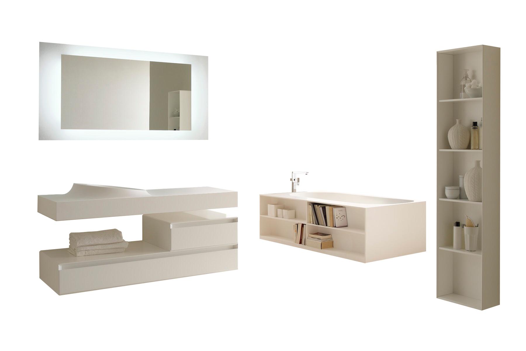 Комплект мебели для ванной комнаты Storage Lovers из белого искусственного камня