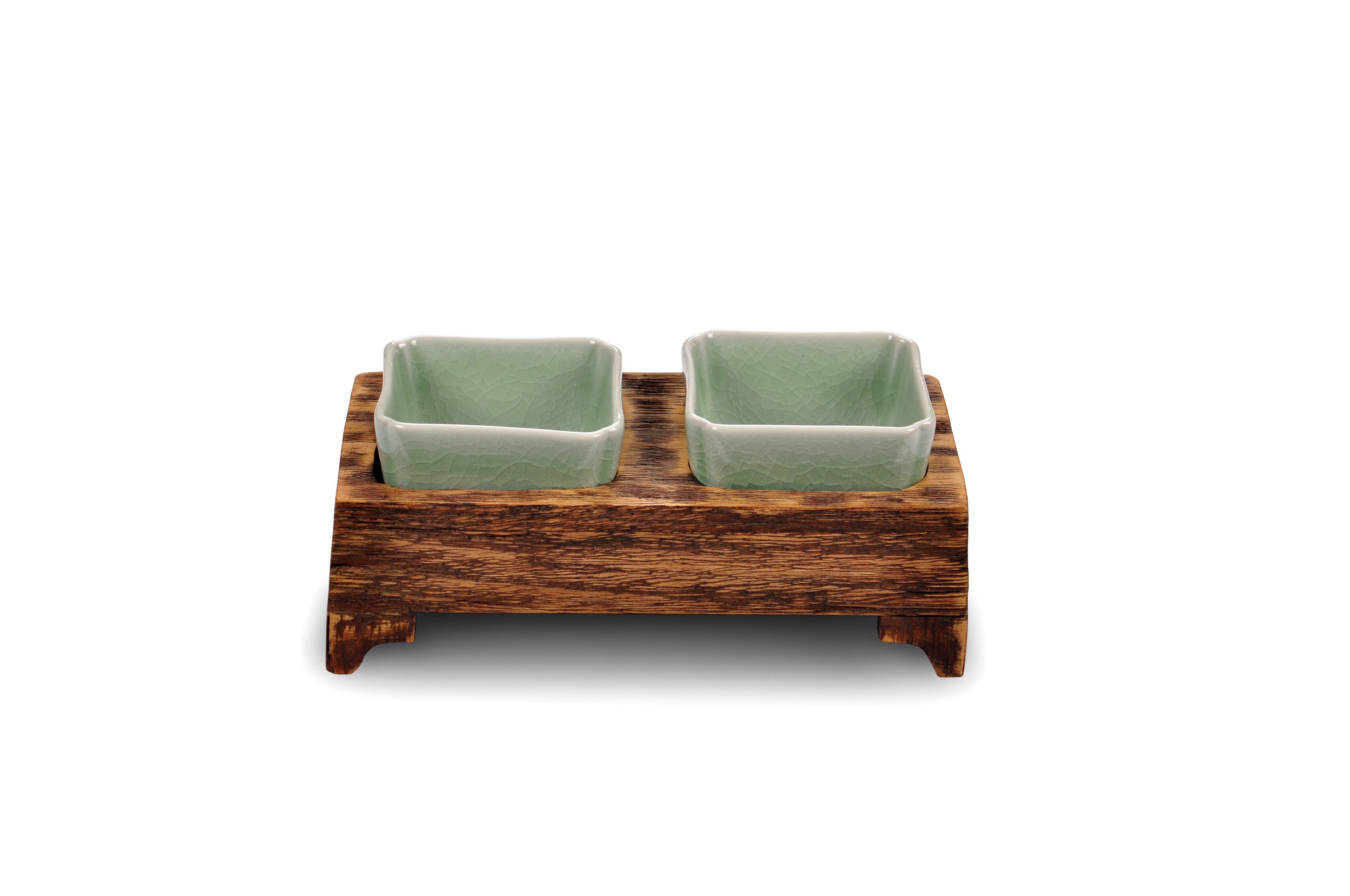 """Два квадратных салатника на деревянной подставке """"Essential"""""""