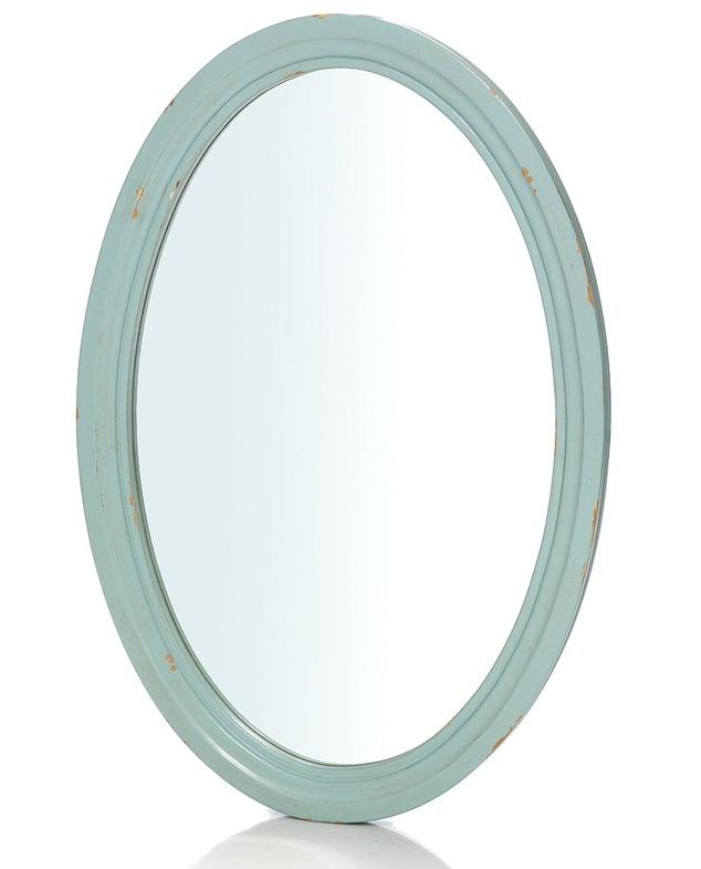 Овальное зеркало голубого цвета