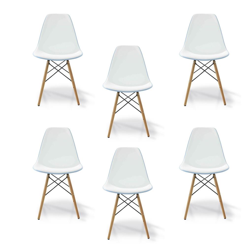 Купить Комплект из шести стульев с деревянными ножками бело-голубого цвета, inmyroom, Россия