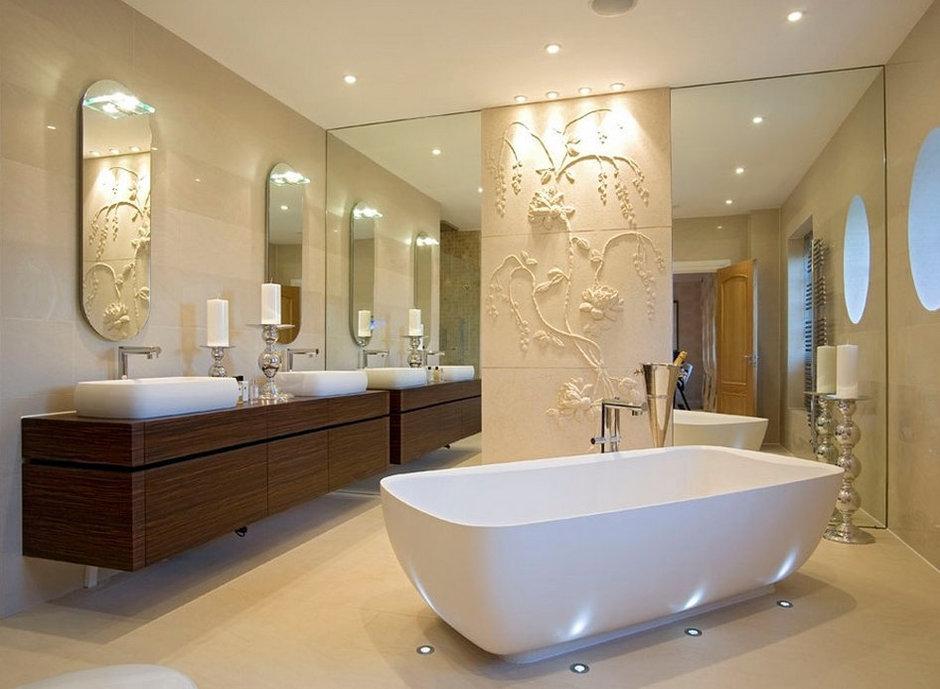 Фотография: Ванная в стиле Эклектика, Декор интерьера, Дом, Мебель и свет, Полки, Лепнина – фото на InMyRoom.ru