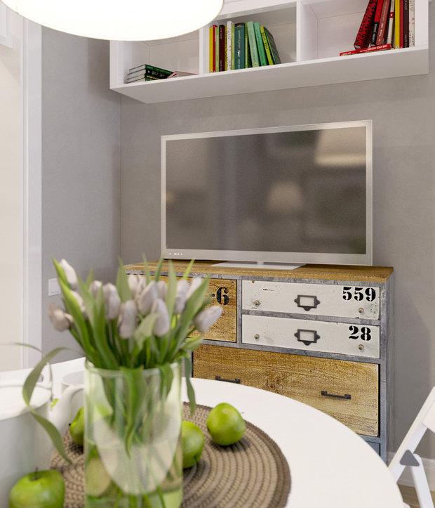 Фотография: Кухня и столовая в стиле Лофт, Скандинавский, Малогабаритная квартира, Квартира, Дома и квартиры, Проект недели – фото на InMyRoom.ru
