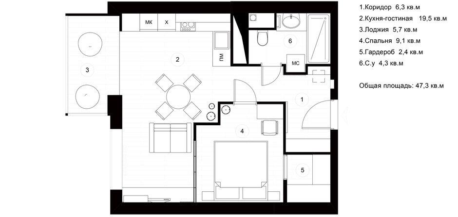 Фотография: Планировки в стиле , Квартира, Проект недели, Москва, Монолитный дом, 2 комнаты, 40-60 метров, Руслан Просвирин, PROSVIRIN DESIGN STUDIO – фото на InMyRoom.ru