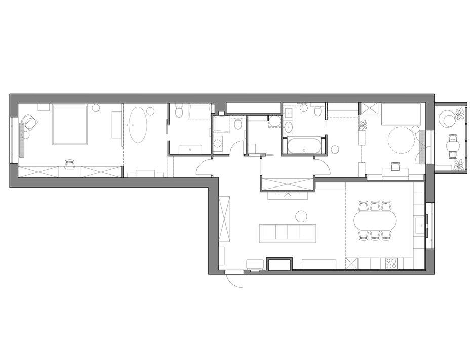 Фотография: Планировки в стиле , Квартира, Проект недели, Москва, Светлана Гаврилова, 3 комнаты, Более 90 метров – фото на InMyRoom.ru