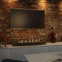Фото из портфолио Гостиная. В центре гостиной установлен автоматический биокамин Decoflame – фотографии дизайна интерьеров на InMyRoom.ru