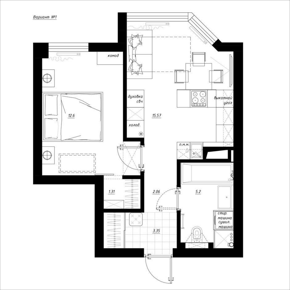 Фотография:  в стиле , Квартира, Перепланировка, Никита Зуб, Монолитный дом, 1 комната, до 40 метров, планировочная среда – фото на InMyRoom.ru