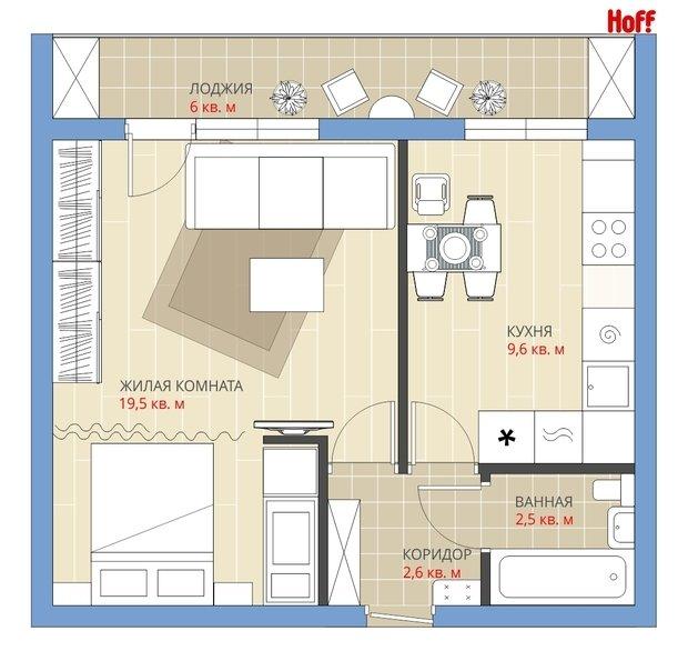 Фотография:  в стиле , Квартира, Планировки, HOFF, Перепланировка, HOFF, Анастасия Киселева, Блочный дом, 1 комната, до 40 метров – фото на InMyRoom.ru