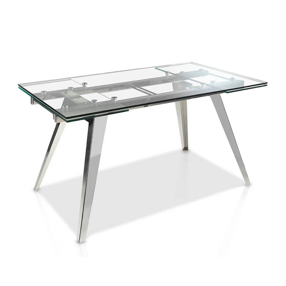 Купить со скидкой Раскладной обеденный стол со стеклянной столешницей