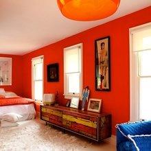 Фотография: Спальня в стиле Кантри, Современный, Эклектика, Декор интерьера, Дизайн интерьера, Цвет в интерьере, Оранжевый – фото на InMyRoom.ru