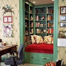 Фотография:  в стиле Кантри, Современный, Системы хранения, Библиотека, Домашняя библиотека – фото на InMyRoom.ru