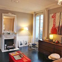 Фотография: Гостиная в стиле Эклектика, Малогабаритная квартира, Квартира, Дома и квартиры, Переделка, Париж – фото на InMyRoom.ru
