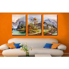 Триптих на холсте: Горный пейзаж