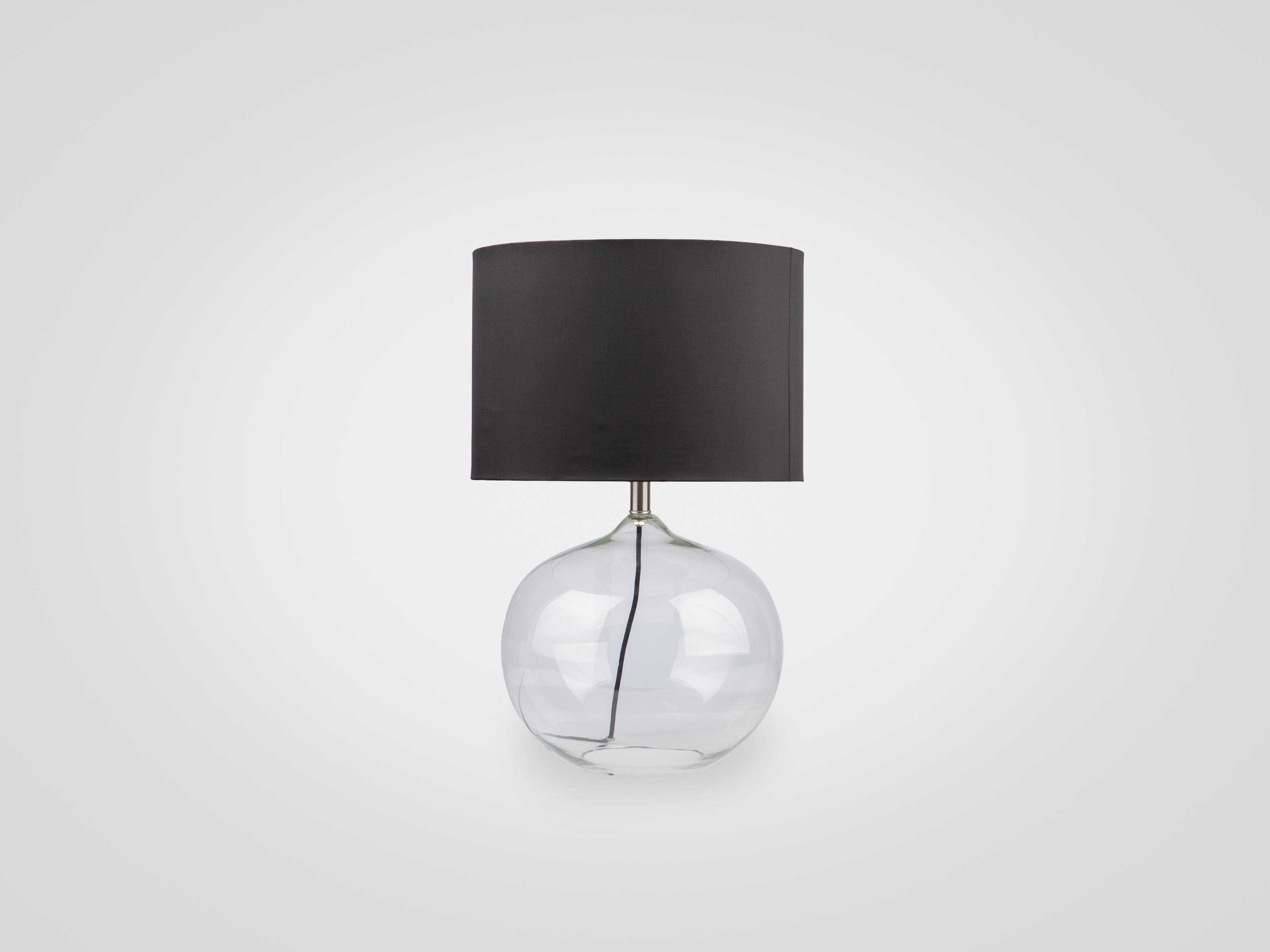 Купить Лампа настольная на ножке из прозрачного стекла с черным абажуром, inmyroom, Китай