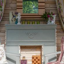 Фотография: Балкон, Терраса в стиле Кантри, Кухня и столовая, Дом, Дома и квартиры, Камин, Беседка – фото на InMyRoom.ru