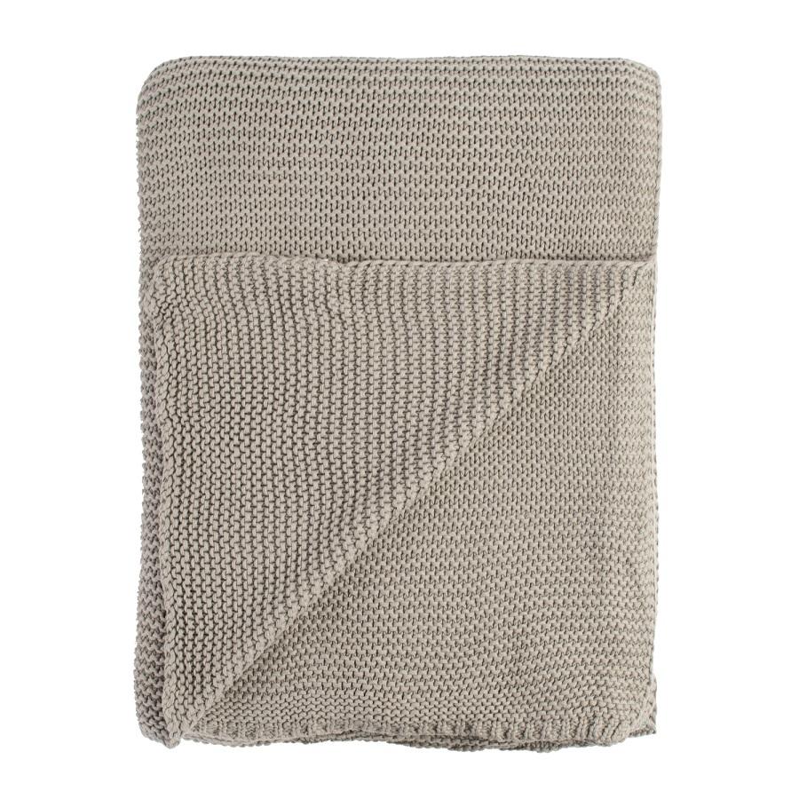Плед жемчужной вязки серого цвета 180х220