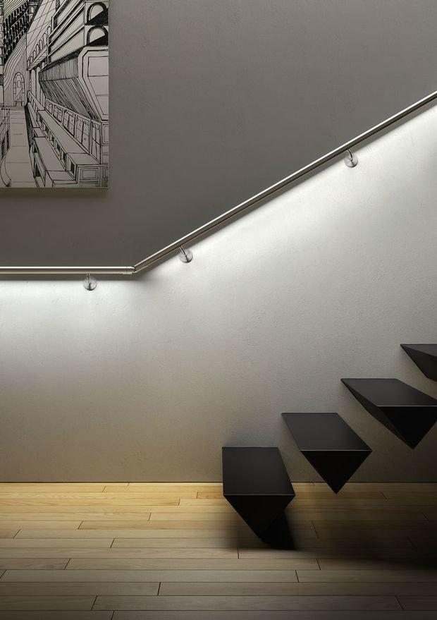 Фотография: Декор в стиле Минимализм, Архитектура, Мебель и свет, Ремонт на практике, Никита Морозов, освещение для лестницы, какую выбрать лестницу, какие бывают лестницы, прямая лестница, винтовая лестница, лестница на больцах, подвесная лестница, ограждение для лестниц, как украсить лестницу – фото на InMyRoom.ru