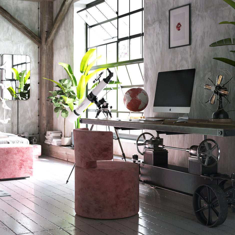 Фотография:  в стиле , Спальня, Лофт, Проект недели, Розовый, Дмитрий Болдырев, LOGOVO – фото на InMyRoom.ru