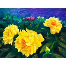 """Стильная картина для декора стен """"Три желтых цветка"""""""