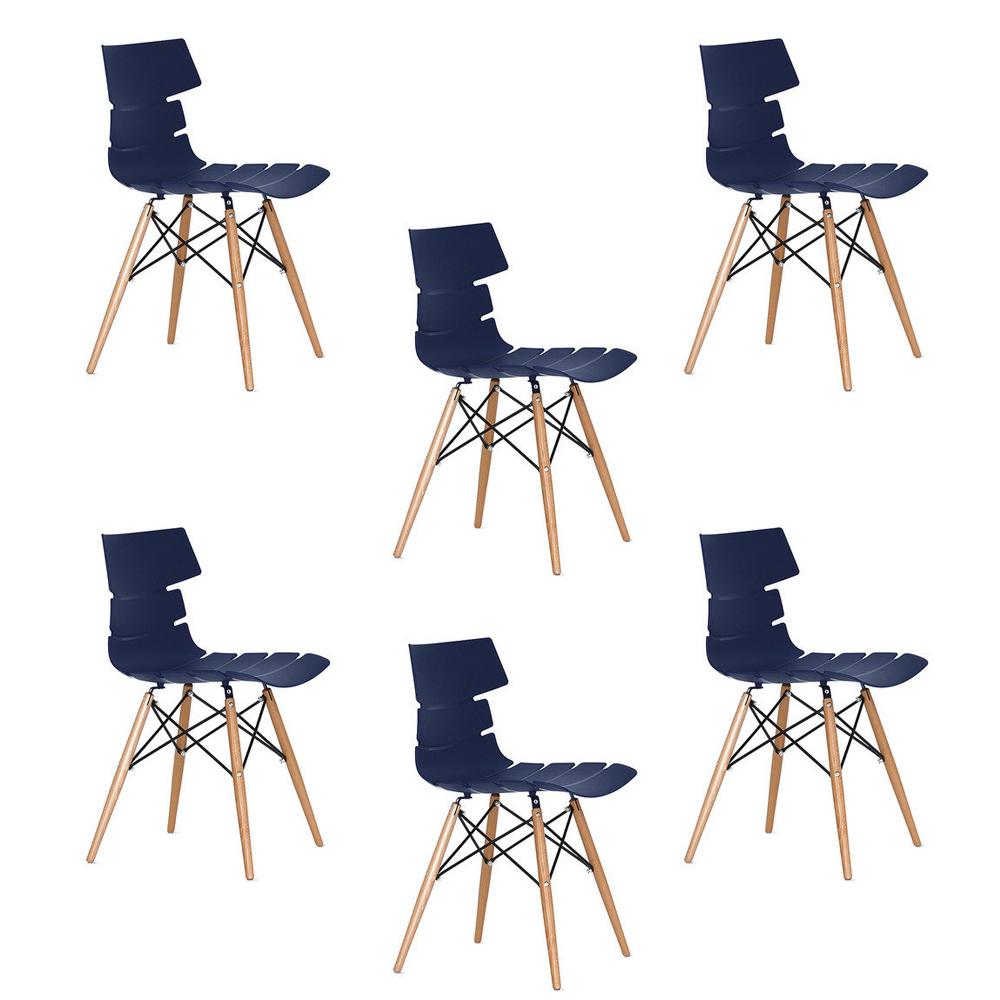 Купить Набор из 6-х стульев на деревянных ножках синего цвета, inmyroom, Китай