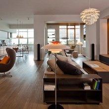 Фотография: Гостиная в стиле Современный, Квартира, Дома и квартиры, Большие окна – фото на InMyRoom.ru