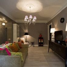 Фотография: Гостиная в стиле Эклектика, Квартира, Мебель и свет, Дома и квартиры, Подсветка – фото на InMyRoom.ru